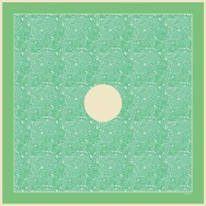 mint green arabesque printed silk twill scarf design