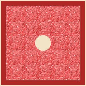 red arabesque printed silk twill square scarf design