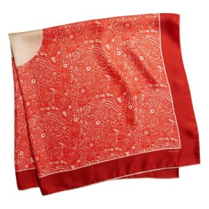 red arabesque silk twill square scarf folded