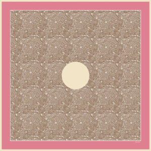 pink arabesque printed silk twill square scarf design