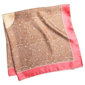 pink arabesque silk twill square scarf folded