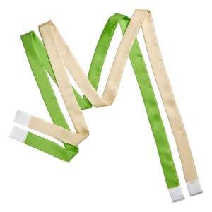 green and cream silk twill skinny scarf