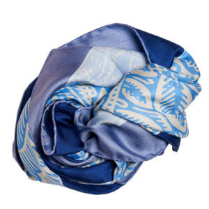 blue and white printed silk twill square scarf bundle