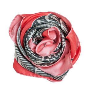 grey and pink printed silk twill square scarf bundle