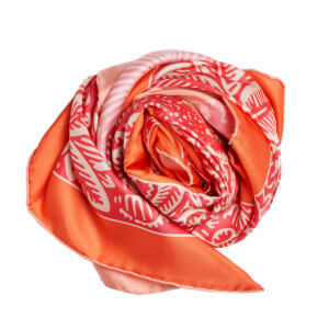 orange and fuchsia white printed twill silk square scarf bundle