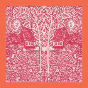 flowers trees houses printed orange and fuchsia silk twill scarf design