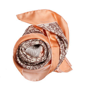 grey and peach white printed silk twill square scarf bundle