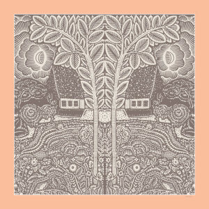 flowers trees houses printed grey and peach silk scarf design