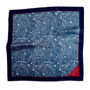 blue pocket square with initial embroidery on red tip