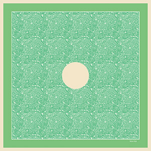 green arabesque motif silk scarf with circle in the middle