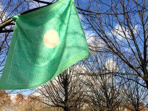 green silk scarf on trees against winter sky