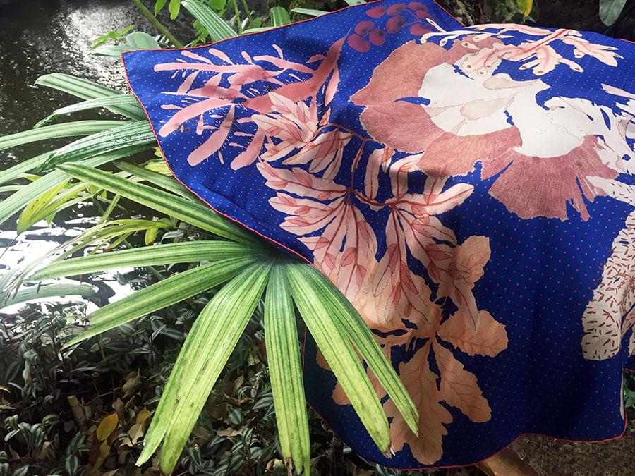 Algae Forest Oriental Blue Silk Scarf by pond