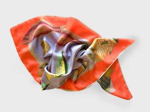 fish printed silk scarf arranged in fish shape