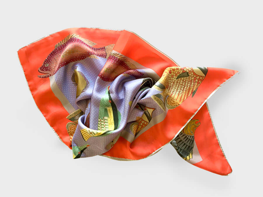 fish printed silk scarf arranged in fish shape