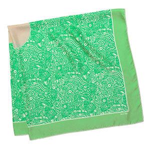 green arabesque silk twill square scarf folded