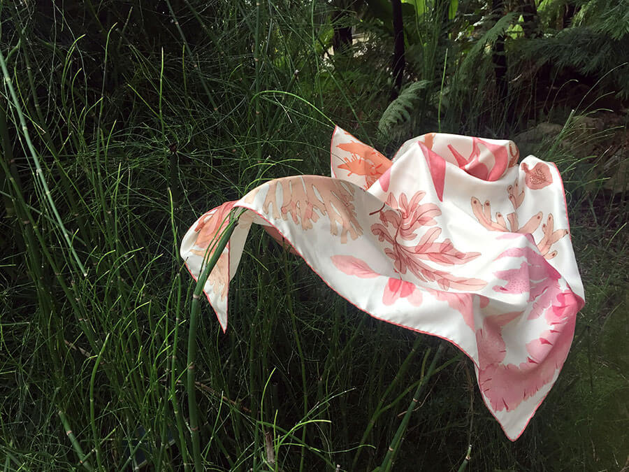algae printed white silk scarf on grass