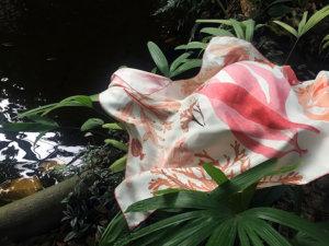 algae printed white silk scarf by the pond
