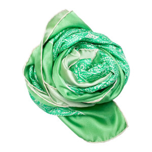 green arabesque printed silk twill scarf bunched