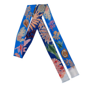 algae printed blue narrow and long double silk scarf