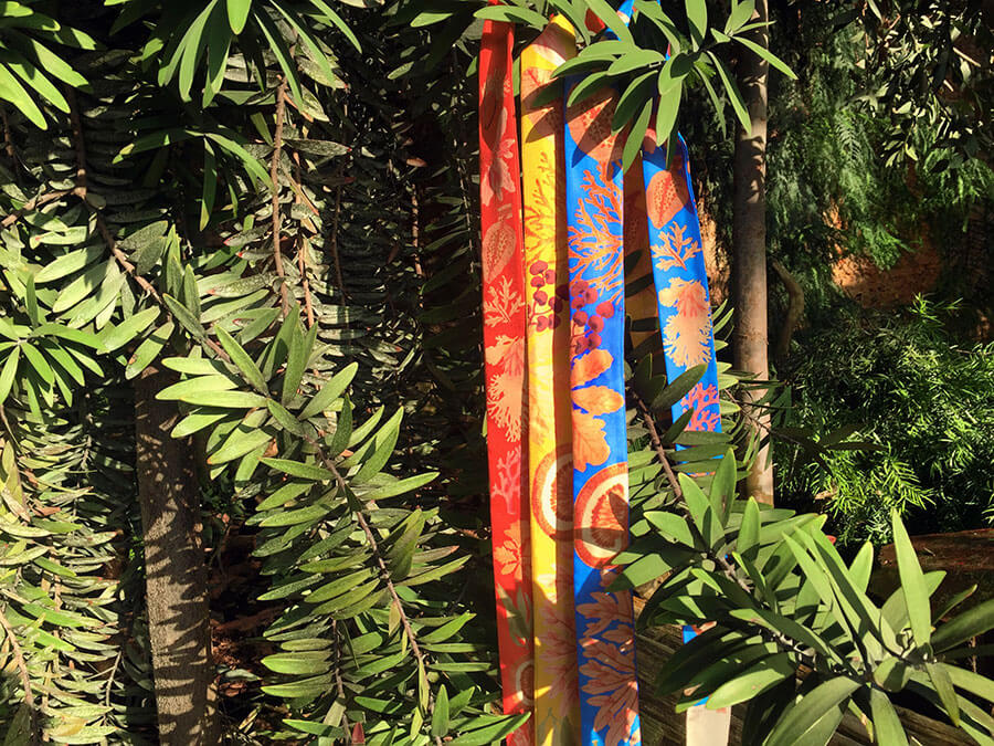 red, yellow, blue, algae printed long silk scarf in forrest