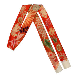 algae printed red narrow and long double silk scarf
