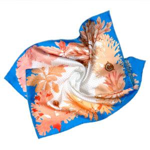 algae with blue border printed silk scarf in movement