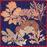 flowers trees houses printed orange and fuchsia silk twill scarf design for mobile