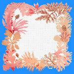 blue frame with algae printed silk scarf design