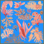 blue floating algae printed silk scarf design