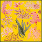 yellow floating algae printed silk scarf design