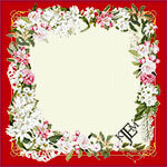 red framed silk scarf with romantic pink and white flowers