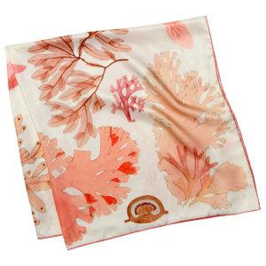 algae printed white silk scarf folded