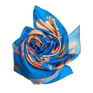 algae printed blue silk scarf bundle