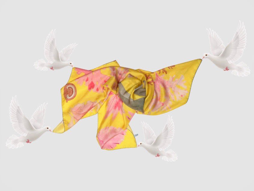 algae printed yellow printed scarf carried by the white doves