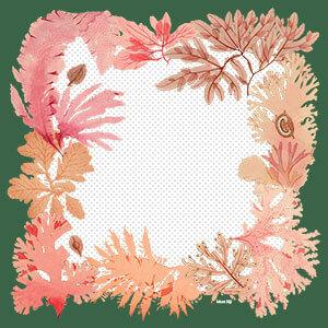 green frame with algae printed silk scarf design