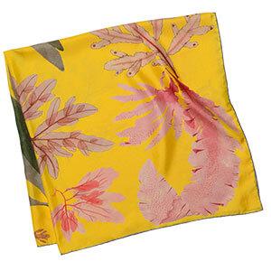 algae printed yellow silk scarf folded