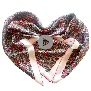 colorful printed silk scarf folded in heart shape