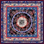 all-over cat printed floral blue silk scarf