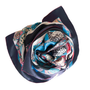 all over cat printed personalized blue silk scarf in bundle