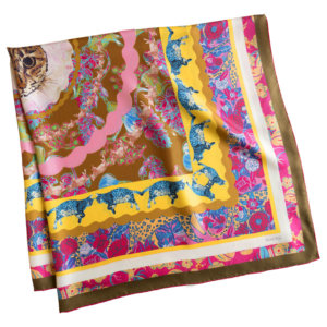 =all over cat printed personalized pink scarf folded