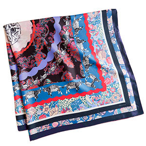 all over cat printed personalized blue silk scarf folded