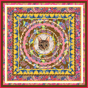 all-over cat printed floral pink silk scarf