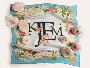 blue framed silk scarf with printed romantic flowers with flowers