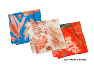 algae printed silk scarves in blue, white and red