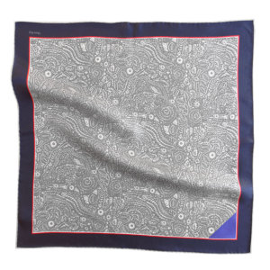 grey and white arabesque printed pocket square with blue tip