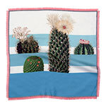 cactus printed small blue and white silk scarf with fringes