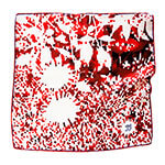 red mosaic floral print silk scarf with hand initial embroidery