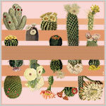 cactus printed big beige and pink silk scarf design