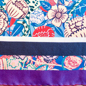 detail of flower printed personalized silk scarf