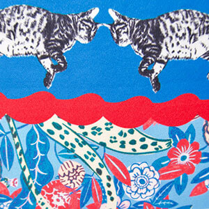 detail of all-over cat printed personalized blue silk scarf